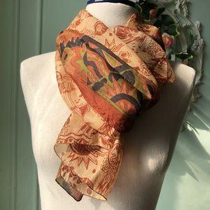 Terracota recycled silk vintage scarf
